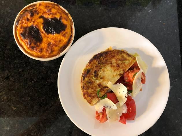 Bacalhau  gratinado com couve e tortilha