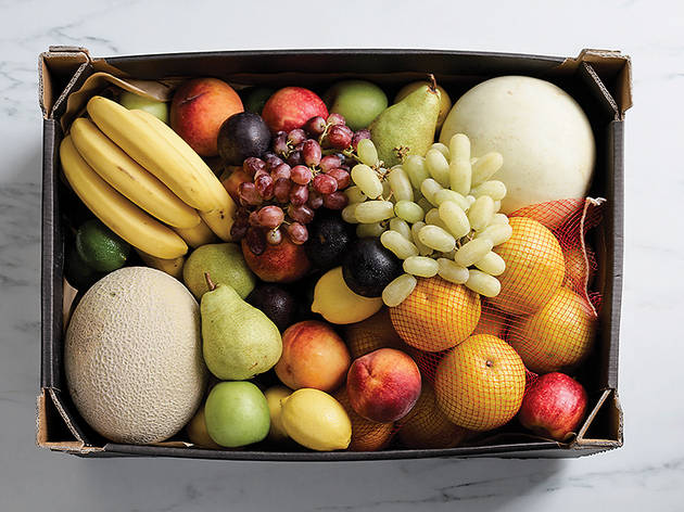 A box of  fresh fruit shot from above