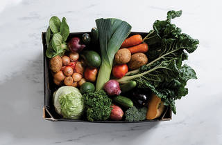A box of vegetables shot from above