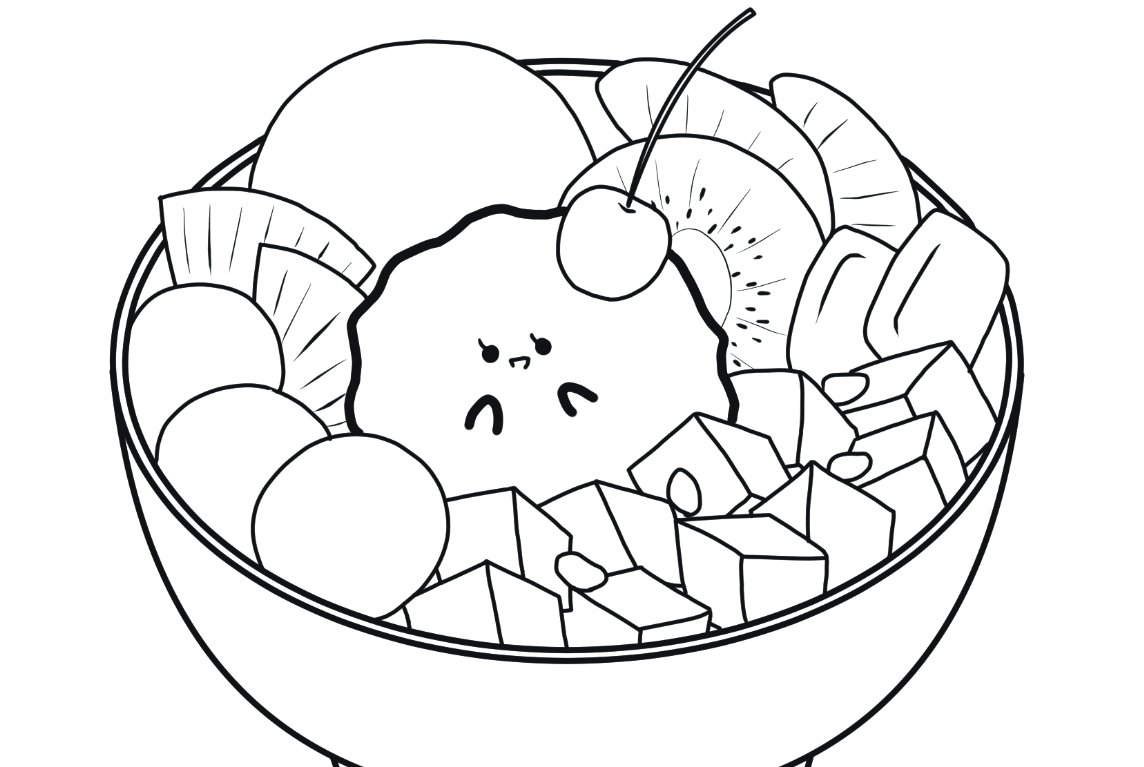 Download Free Colouring Pages Featuring Cute Japanese Red Bean Desserts