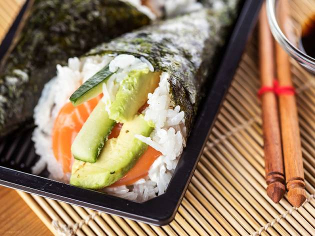 sushi, hand roll, Christin Klose, shutterstock, food, restaurant, sushi restaurant, fish, raw fish, seafood, chopsticks