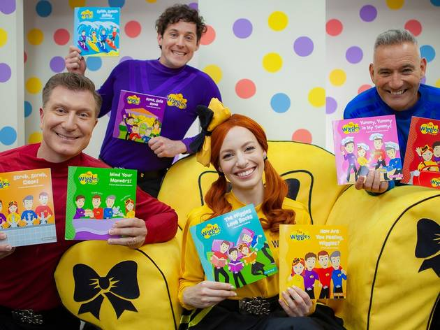 The Wiggles holding their Big W Free Books for Kids book series