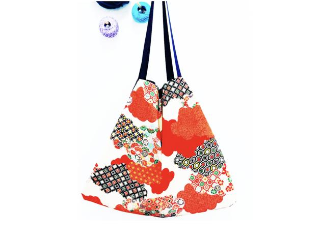 Kit bolsa collage con telas japonesas Teté Café Costura