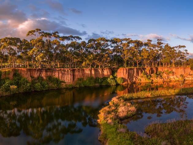 View of the K Road cliffs overlooking the Werribee river
