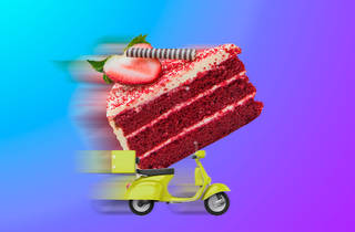 cake on a motorbike