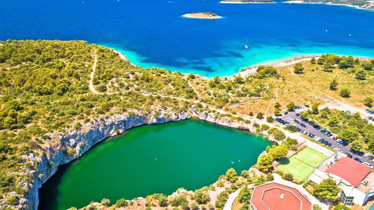 Dragon's Eye lake in Rogoznica, Dalmatia