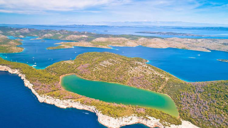 Telascica nature park and green Mir lake on Dugi Otok island aer