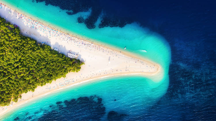 Brač's so-called Golden Horn may look like it's made of sand, but it's a pebble beach