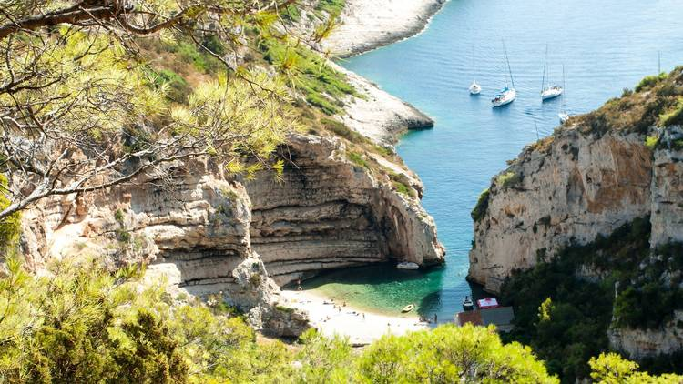 The layered cliffs of Stivina bay on Vis island