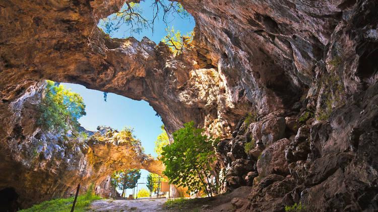 Korcula. Vela spilja cave in Vela Luka on Korcula island view