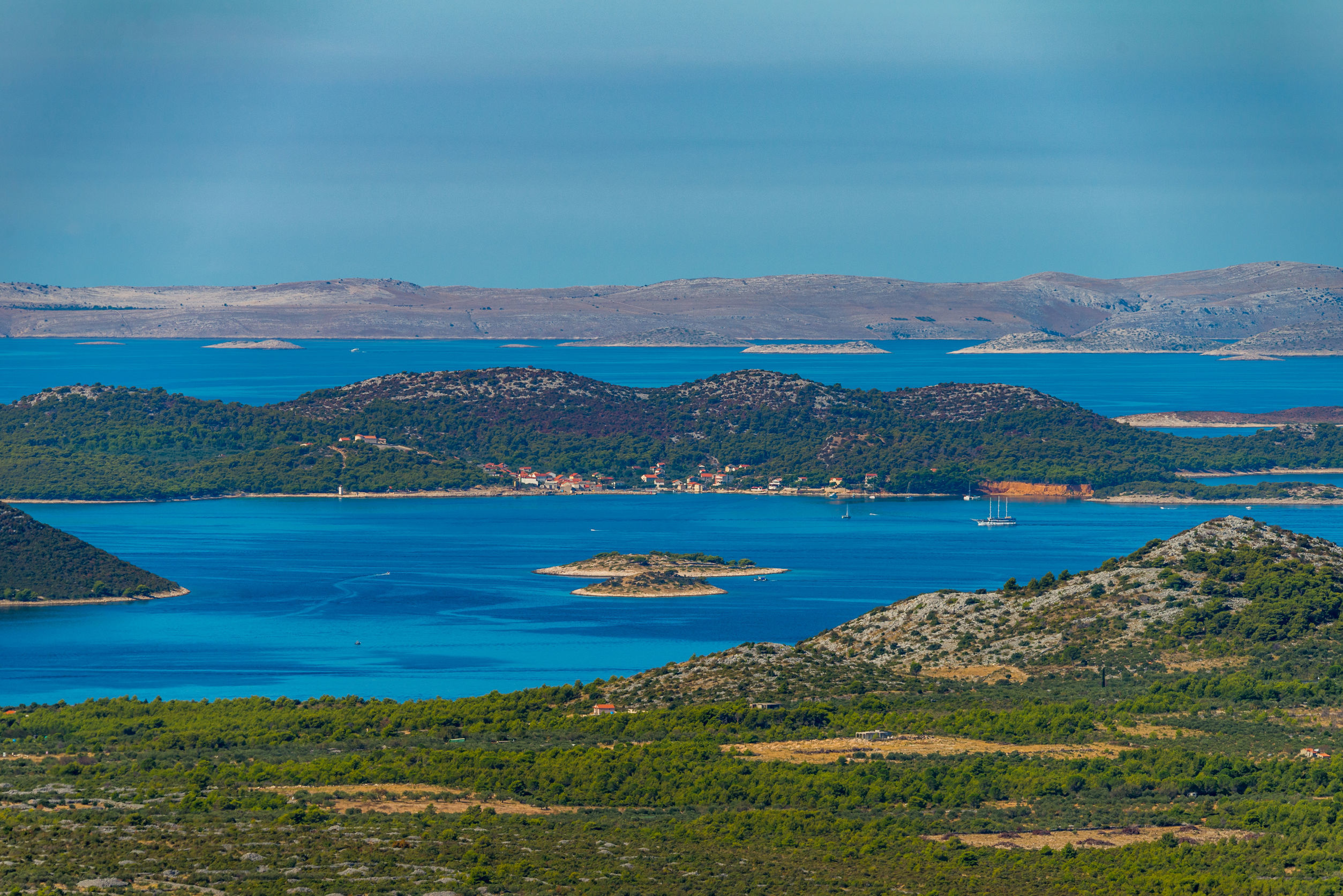 Vransko Lake and Kornati Islands. View from Kamenjak hill. Dalma