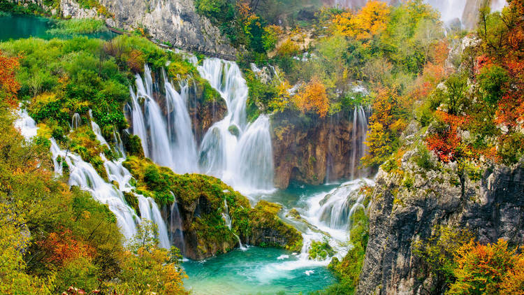 The gushing waterfalls of Plitvice Lakes National Park