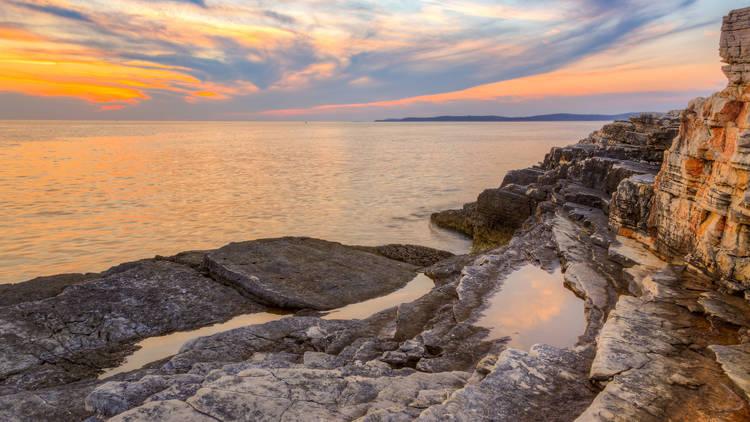 Sunrise over the sea near Rt Kamenjak