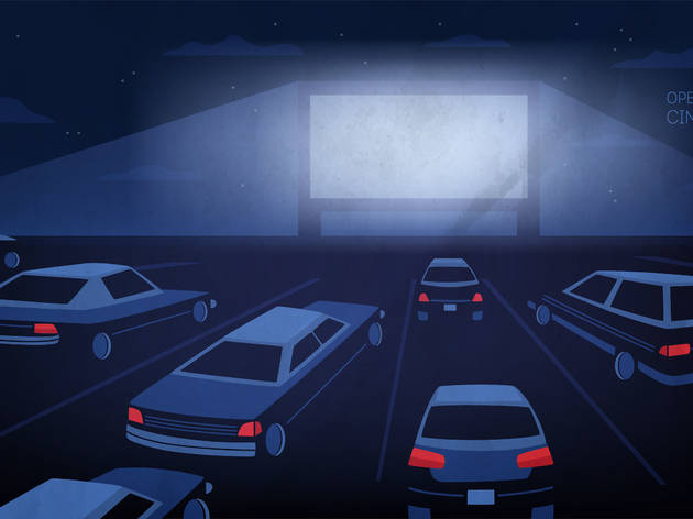 Open air, outdoor or drive-in cinema theater at night. Large movie screen glowing in darkness surrounded by cars against evening sky with stars and clouds on background. Cartoon vector illustration.