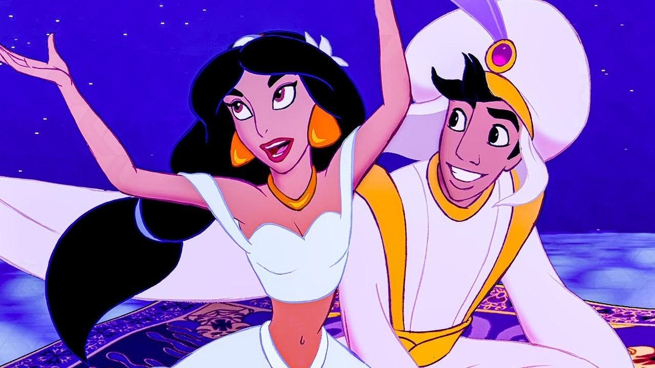 Film still from Disney's Aladdin, Jasmine and Aladdin ride on a magic carpet.