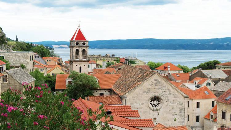 Summer view on the old town Omis, near Split, Dalmatia region