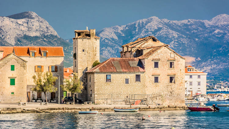 View at small mediterranean place Kastel Stari in suburb to town Split