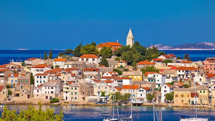 Adriatic tourist destination of Primosten skyline view, Dalmatia region