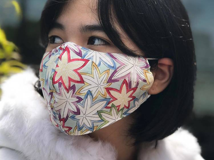 Vintage kimono face mask