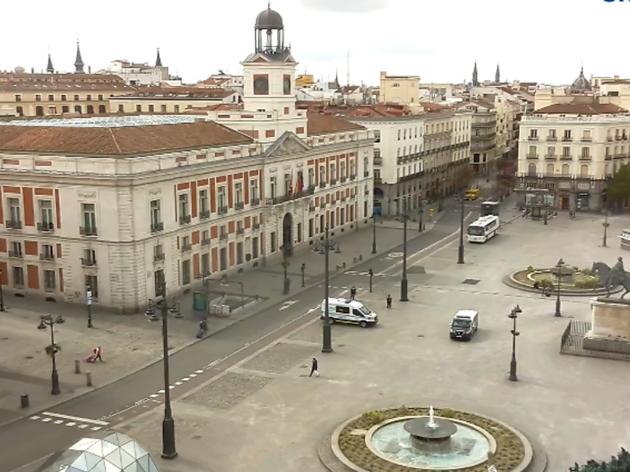 An empty Puerta del Sol
