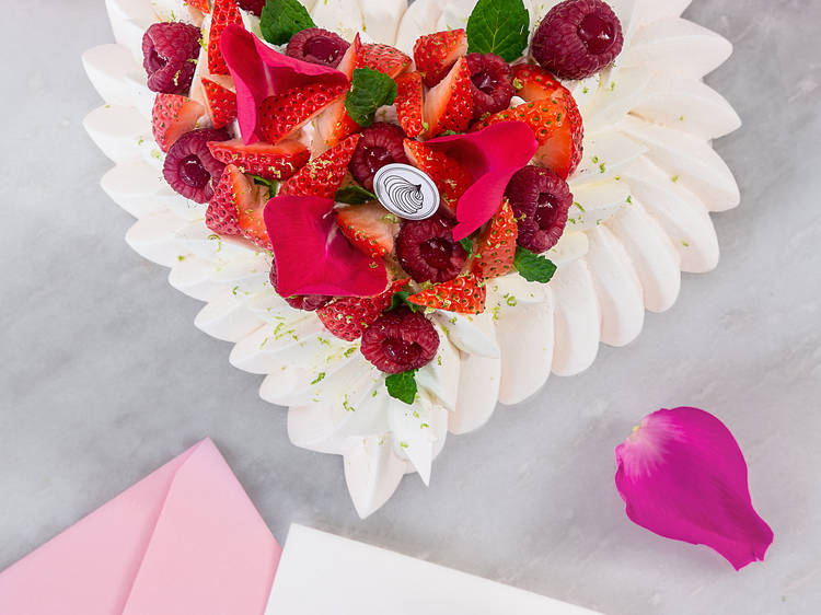 Le Dessert's heart-shaped pavlova