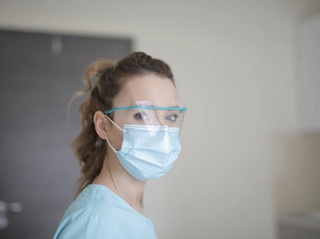 Máscaras cirúrgicas, médicos, enfermeiros, Covid-19