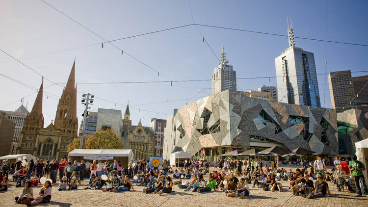 Crowds of people in Federation Square