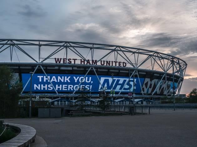west ham stadium thanking the nhs