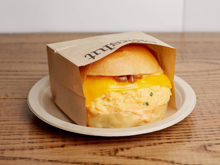 Eggslut's iconic Fairfax egg sandwich