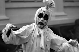 A person dressed as a pocong ghost in Bandung, Indonesia