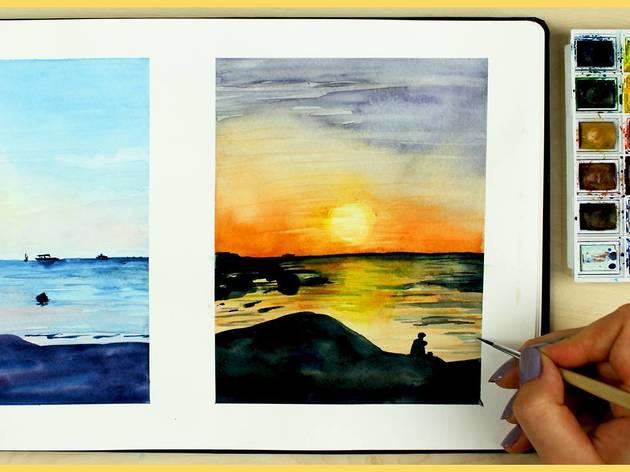 Aprenda a pintar o pôr-do-sol com aguarela