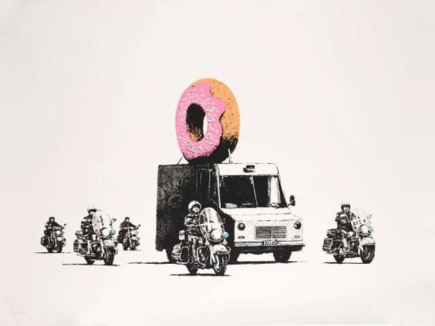 Strawberry Donut by Banksy, screenprint on paper, edition of 299, signed, dated and stamped (2009)