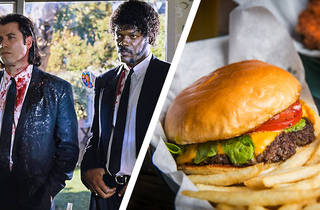 A still from Tarantino's Pulp Fiction spliced with a cheeseburger and fries