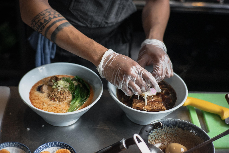 Chef making ramen