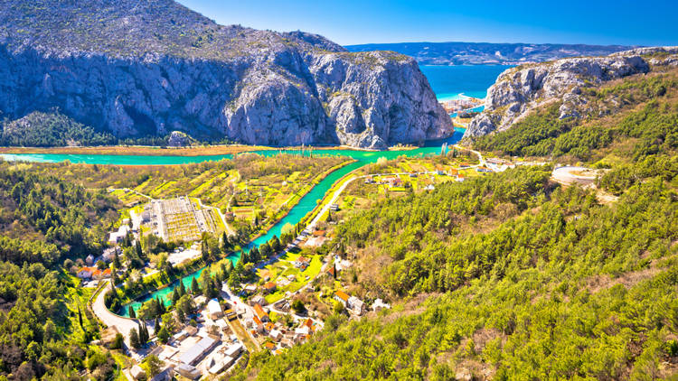 Cetina river canyon and mouth in Omis view from above, Dalmatia region