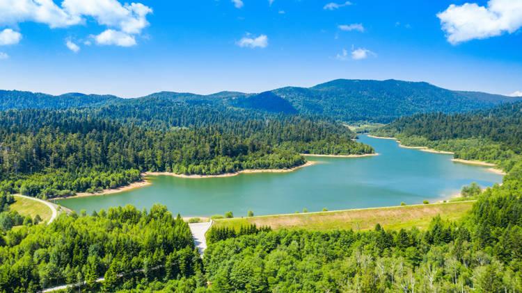 Gorski kotar, lake Lepenica, green forest and mountain landscape