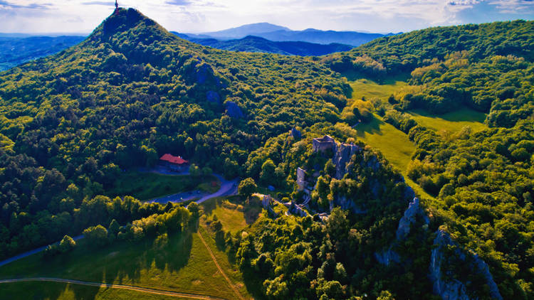 Kalnik mountain ridge and old fortress ruins aerial view, Prigorje region