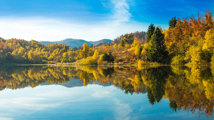 View of Mrzla vodica lake and Risnjak mountain, Gorski kotar