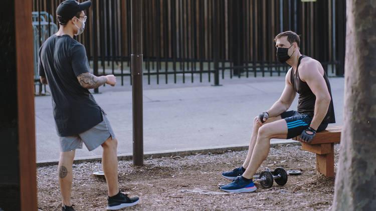Two people exercising during shutdown