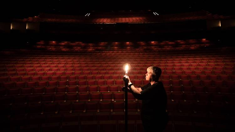 Sydney Opera House's Ange Sullivan installs a ghost light