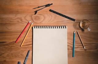 drawing pad note pad pencils