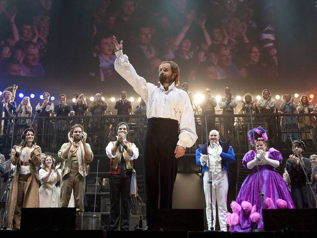 Alfie Boe (Jean Valjean) during the curtain call for the Les Miserables 25th Anniversary Concert at The O2 Arena, London
