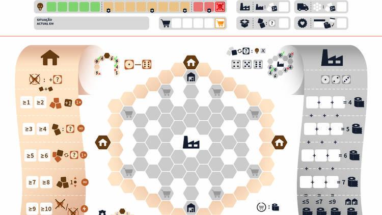 É um jogo para dois jogadores sobre o açambarcamento de papel