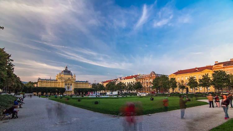 Panoramic timelapse view of Art pavilion at King Tomislav square in Zagreb, Croatia.