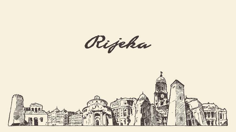 Rijeka skyline, Croatia, hand drawn vector illustration sketch