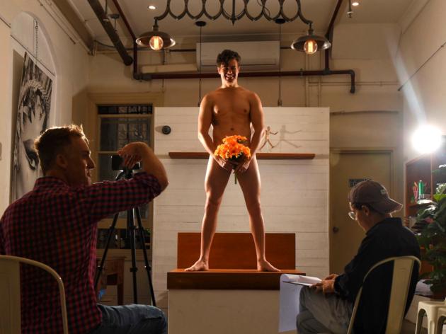 Man naked as life-drawing model