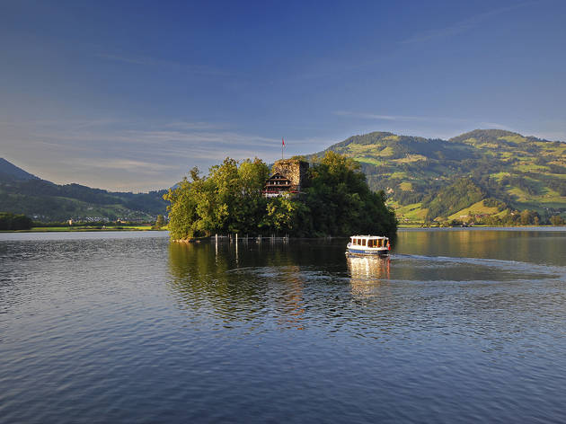 Schwanau Island, Lucerne-Lake Lucerne Region. for Swiss Islands Switzerland Tourism campaign. Do not reuse.