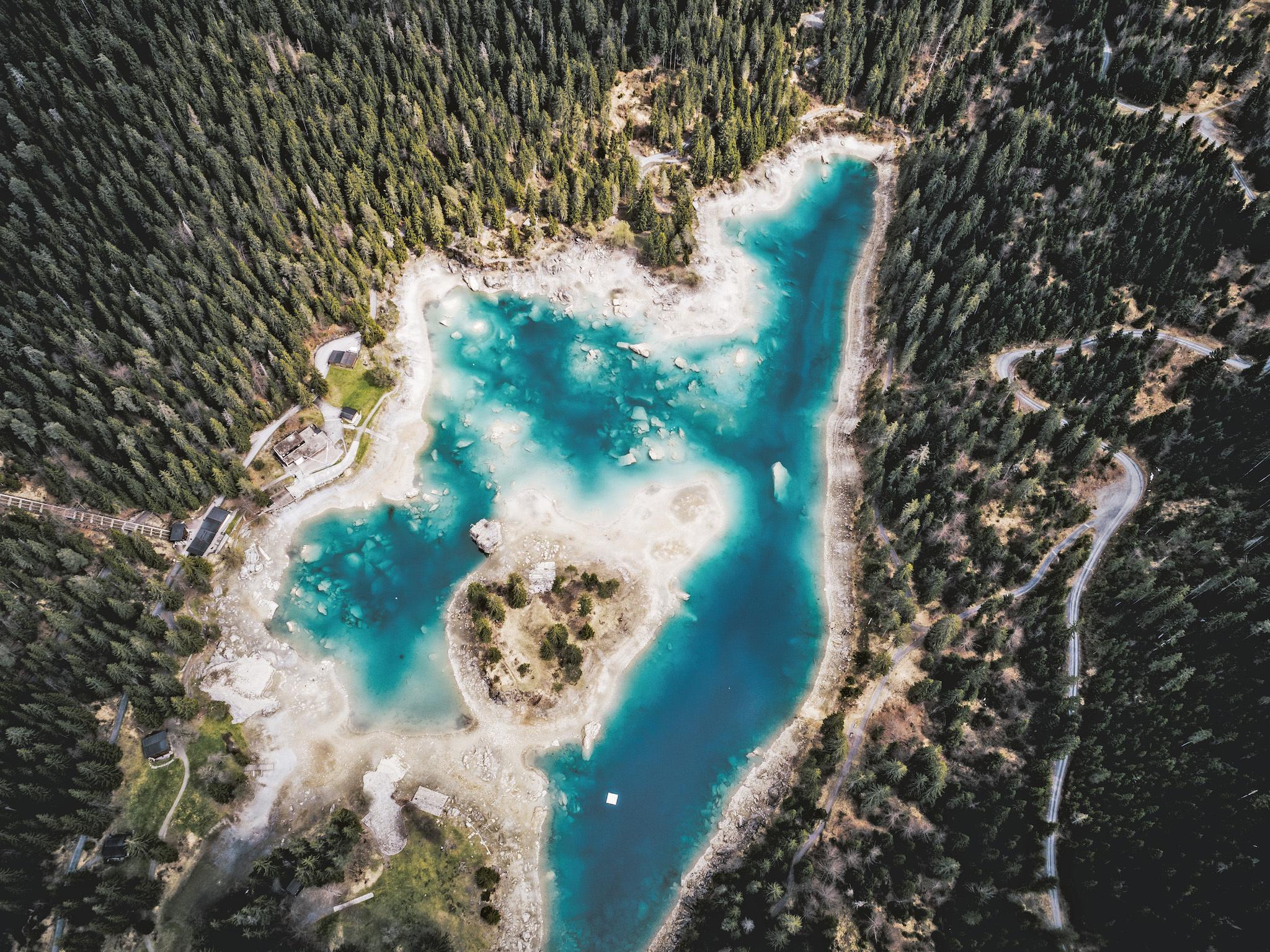 Island in Lake Cauma, Graubünden. for Swiss Islands Switzerland Tourism campaign. Do not reuse.