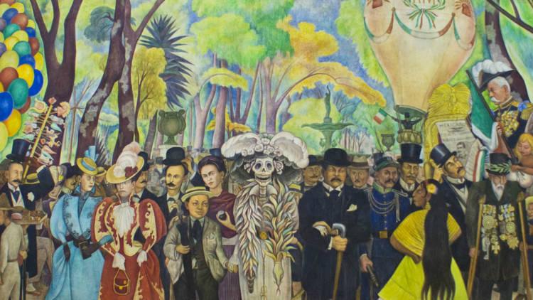 Detalle de mural de Diego Rivera Sueño de una tarde dominical en la Alameda Central