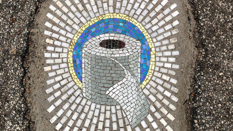 jim bachor, mosaic, tile, art, pothole